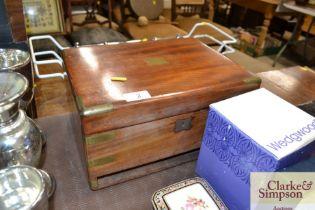 A 19th Century brass bound box; lacking drawer