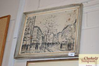 An oil on canvas depicting Paris scene
