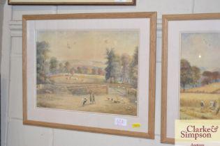 A Wilson, watercolour study depicting a farmyard s