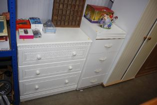 A modern bedside chest fitted with four drawers; t