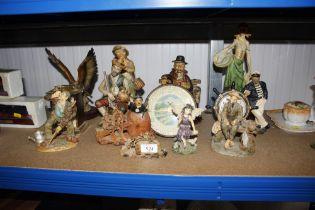 A quantity of Capo di Monte figures; mantel clock e
