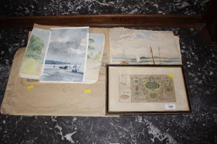 A quantity of unframed watercolours etc.