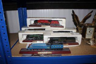 Six model trains