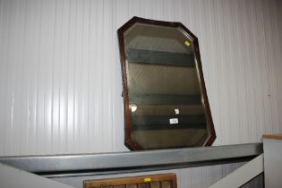 An oak bevel edged wall mirror