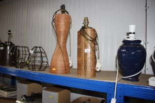 A wooden effect table lamp; and a hardwood table l