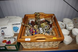 Two baskets and contents of various trophies and m