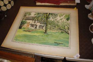 Robert Barltrop, 1966, watercolour study of a coun