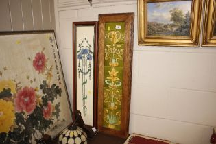 Two framed art nouveau style tile panels