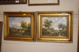 A Norley, a pair of oils on panel depicting rural