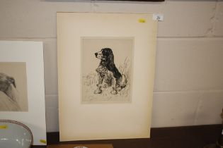 An unframed pencil signed etching, study of a seat