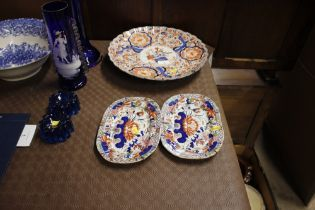 A Japanese Imari charger, and two 19th Century ironstone patterned dishes AF