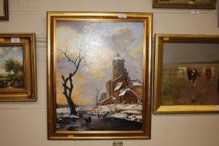 Ron Zdriluk, oil on board, study of a winter scene