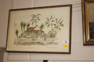 Spencer Cameron, 1981, study of Wallblake House, Anguilla