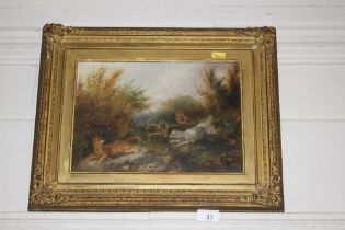 After Armfield, oil depicting terriers and fox, in