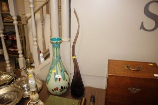 An art glass baluster vase and a purple glass free