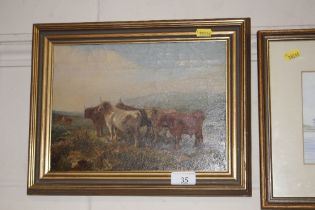 Late 19th Century School, oil painting of cattle