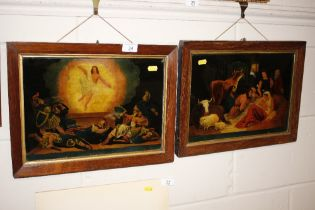 A pair of Victorian rosewood framed prints on glas