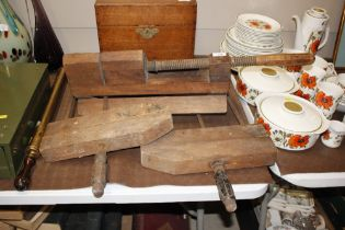 Three vintage wooden clamps