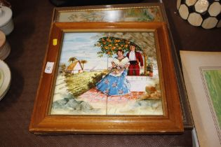 A needlework embroidery of a hunting scene and a f