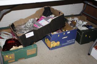 Four boxes of miscellaneous china and glass etc