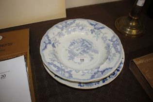 Two 19th Century blue and white Canton pattern soup plates and a blue and white floral decorated sou