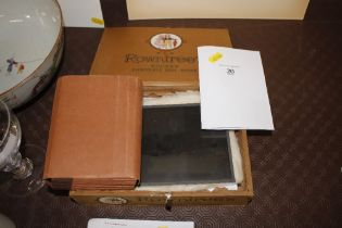 A Rowntree's box and contents of various glass nega