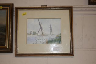 P J Youngs, watercolour study of sailing vessels o