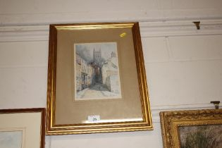 """F Robson - a print entitled """"A Peak at the Old Tow"""