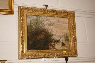 J Wallis - oil painting study of fox and ducks in