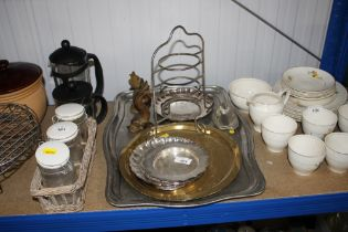 A quantity of silver plated ware; brass tray etc