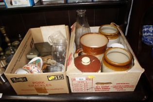 Two boxes of various china including brushes; tins