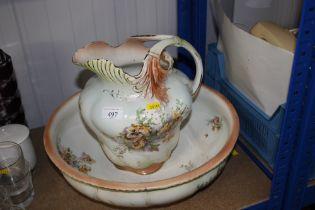 A floral decorated wash jug and bowl AF