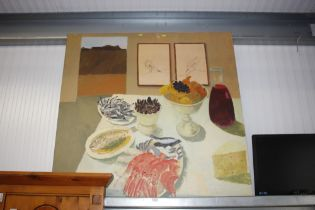 A large oil on canvas still life study