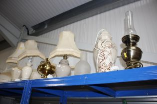 Six various table lamps