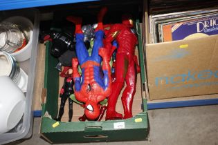 A box of mostly Marvel toys