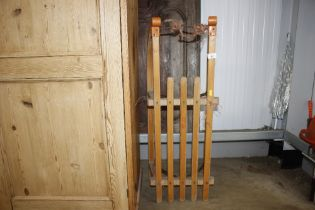 A wooden toboggan