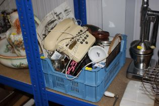 A box of various sundry items to include a telepho