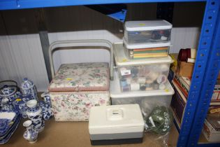 A quantity of various sewing items and stationary
