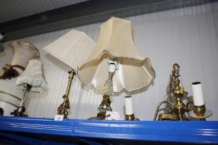 Three various table lamps and shades