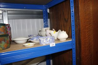 A small quantity of blue and white china; soap dis