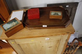 An inlaid two handled tea tray; a Cinnabar lacquer style box; and two ship decorated boxes