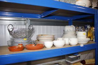 A quantity of white glazed tea and dinnerware; var