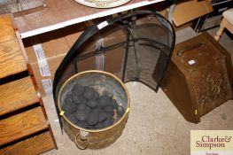 A brass coal bucket with lion mask decoration; and