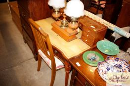 A reproduction walnut writing desk and a rail back