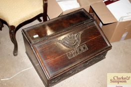 A William & Mary period carved oak table top desk