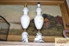 A pair of onyx baluster table lamps