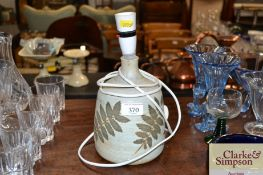 A Furness pottery table lamp