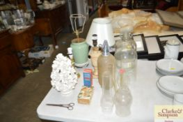 A quantity of sundry items to include glass chimne
