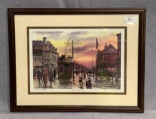 Keith Baldock a small framed Limited Edition print 'Riby Square' 21 x 30cm signed in pencil and No.