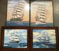 Nunez ships with sails set each 30 x 38cm and two watercolours of boats 'Hougamont and Sopocles'